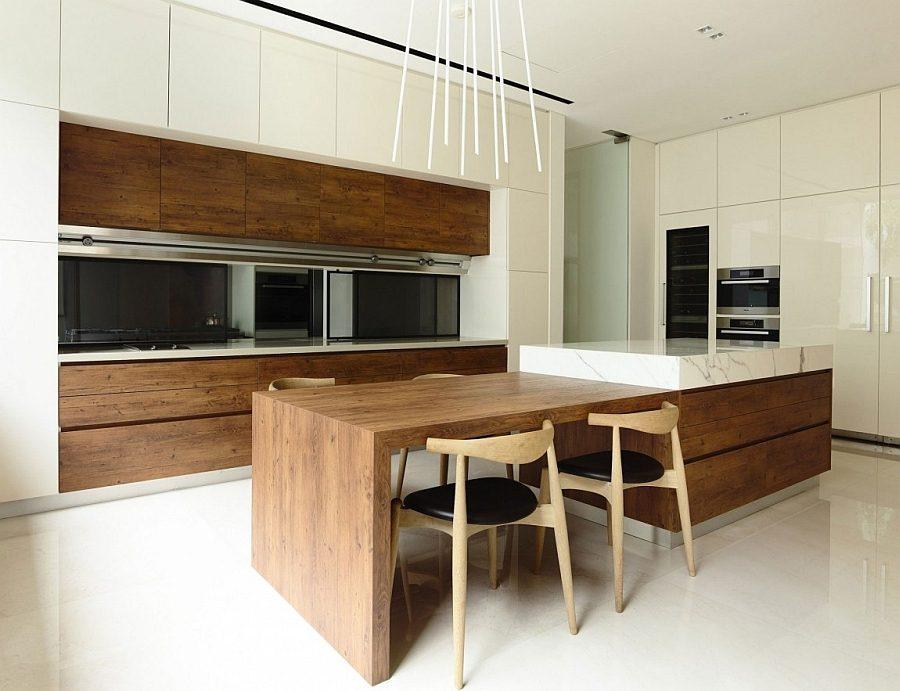 Description: Minimal modern kitchen and dining area with warmth of natural wood Biệt thự tại Singapore với thiết kế không gian mở gần gũi với thiên nhiên qpdesign