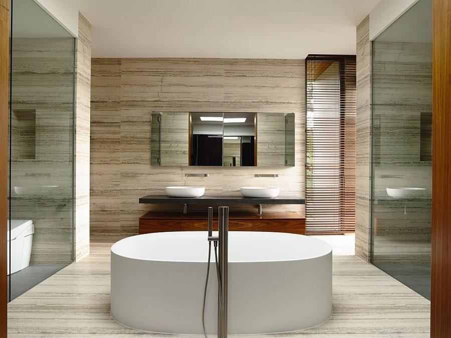 Description: Spa like contemporary bath with freestanding tub Biệt thự tại Singapore với thiết kế không gian mở gần gũi với thiên nhiên qpdesign