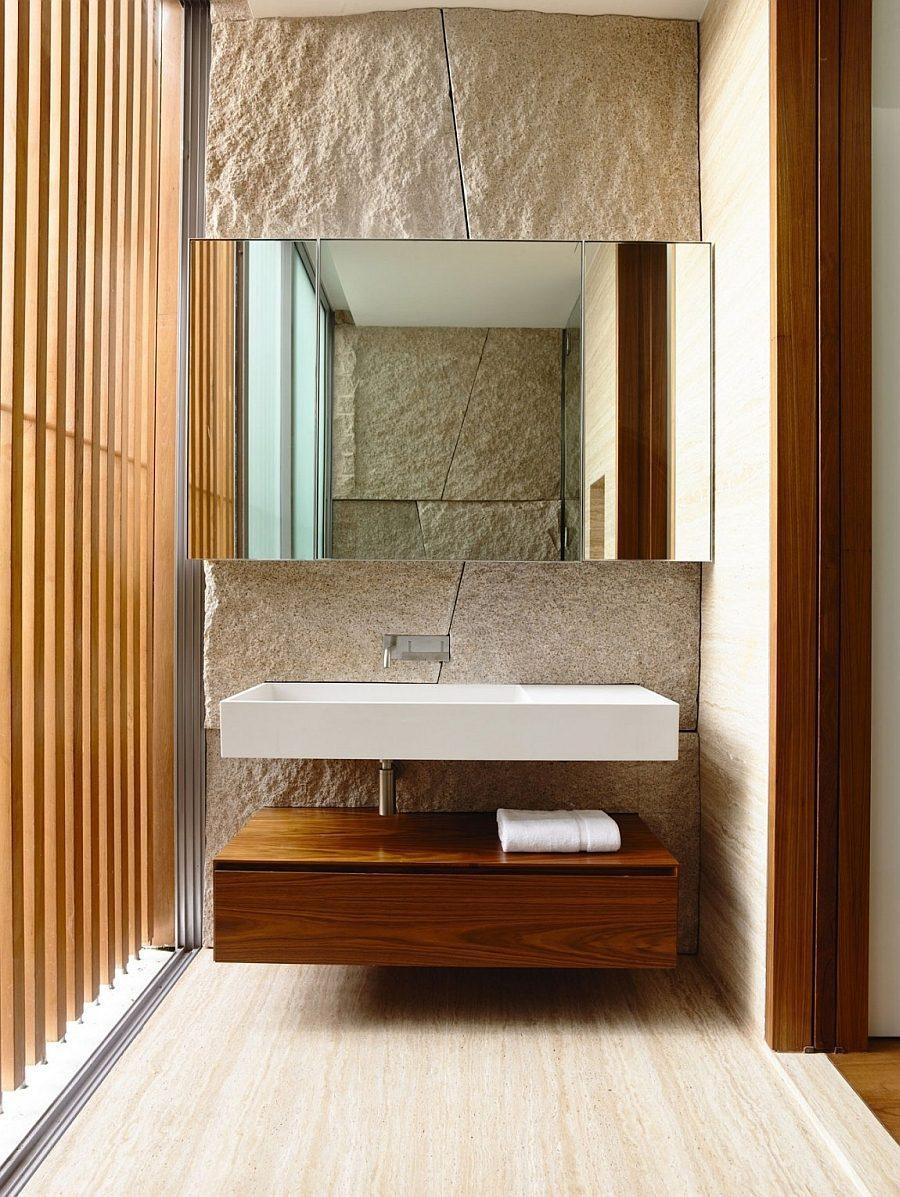 Description: Floating bathroom vanity and sink in the luxurious bath Biệt thự tại Singapore với thiết kế không gian mở gần gũi với thiên nhiên qpdesign