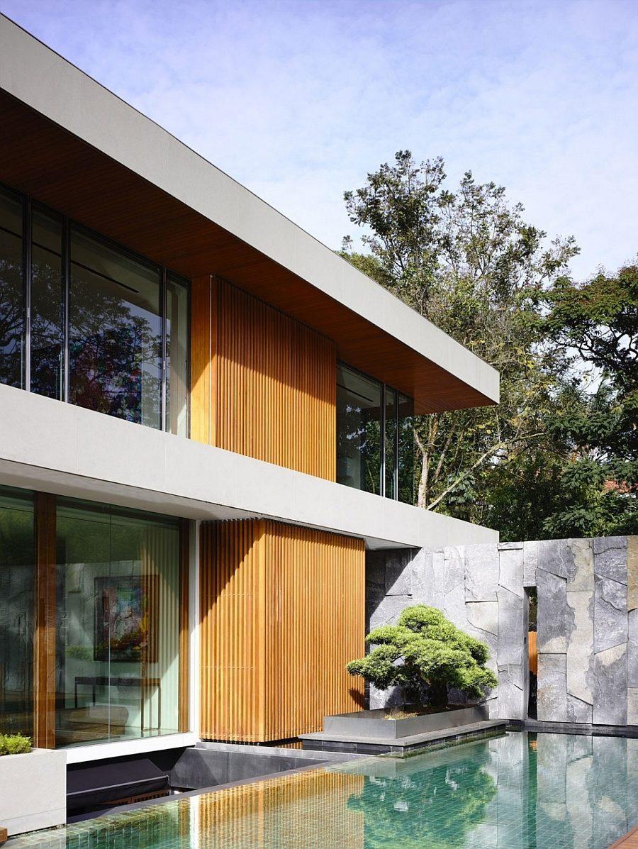 Description: Zen like nooks next to the pool offer a tranquil retreat Biệt thự tại Singapore với thiết kế không gian mở gần gũi với thiên nhiên qpdesign
