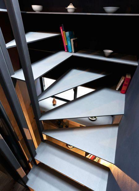 Description: Toshima long and narrow house stairs and shelves 1439461946 1200x0 Thiết kế thông minh cho nhà ống hẹp 1.8m qpdesign