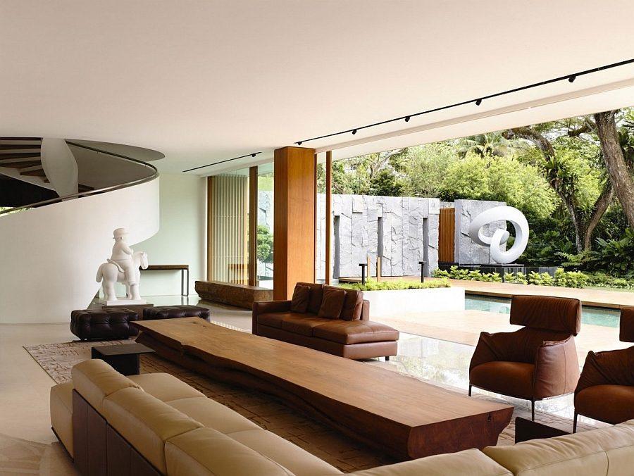 Description: Unqiue and natural wooden coffer table idea Biệt thự tại Singapore với thiết kế không gian mở gần gũi với thiên nhiên qpdesign